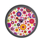 Hippie Rainbow Flower Pattern Wall Clock