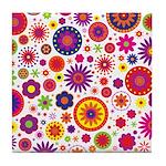 Hippie Rainbow Flower Pattern Tile Coaster