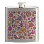Hippie Rainbow Flower Pattern Flask