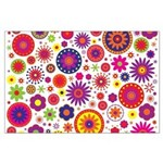 Hippie Rainbow Flower Pattern Large Poster