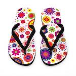 Hippie Rainbow Flower Pattern Flip Flops