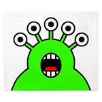 Kawaii Green Alien Monster King Duvet