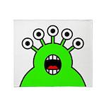 Kawaii Green Alien Monster Throw Blanket