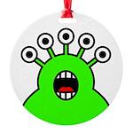 Kawaii Green Alien Monster Round Ornament