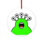 Kawaii Green Alien Monster Ornament (Round)