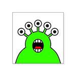 Kawaii Green Alien Monster Square Sticker 3