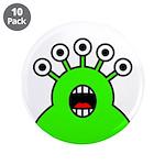 """Kawaii Green Alien Monster 3.5"""" Button (10 pa"""