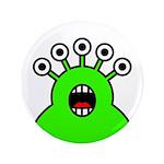"""Kawaii Green Alien Monster 3.5"""" Button"""