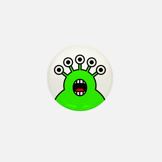 Kawaii Green Alien Monster Mini Button