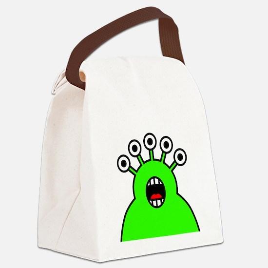 Kawaii Green Alien Monster Canvas Lunch Bag