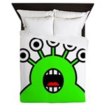 Kawaii Green Alien Monster Queen Duvet