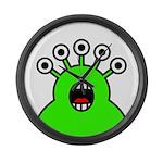 Kawaii Green Alien Monster Large Wall Clock
