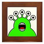 Kawaii Green Alien Monster Framed Tile