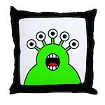 Kawaii Green Alien Monster Throw Pillow