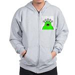 Kawaii Green Alien Monster Zip Hoodie