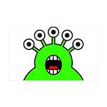 Kawaii Green Alien Monster 35x21 Wall Decal
