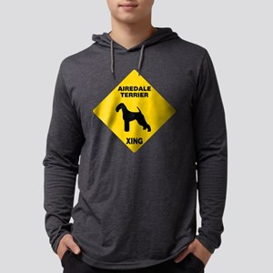 Airedale Terrier Crossing Sign Mens Hooded Shirt