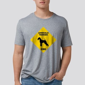 Airedale Terrier Crossing Sign Mens Tri-blend T-Sh