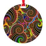 Funky Rainbow Swirl Pattern Round Ornament
