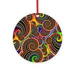 Funky Rainbow Swirl Pattern Ornament (Round)