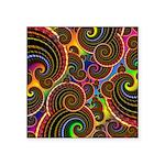 Funky Rainbow Swirl Pattern Square Sticker 3