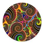 Funky Rainbow Swirl Pattern Round Car Magnet