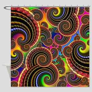 Funky Rainbow Swirl Pattern Shower Curtain