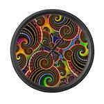 Funky Rainbow Swirl Pattern Large Wall Clock
