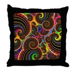 Funky Rainbow Swirl Pattern Throw Pillow