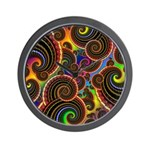 Funky Rainbow Swirl Pattern Wall Clock