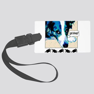 border collie got sheep2a Large Luggage Tag