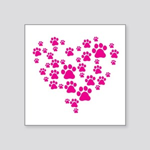 "Heart of Paw Prints Square Sticker 3"" x 3"""