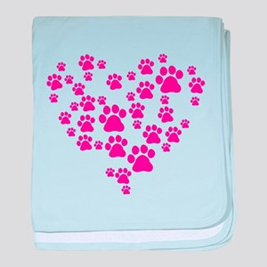 Heart of Paw Prints baby blanket