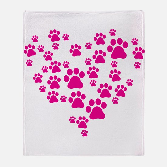 Heart of Paw Prints Throw Blanket