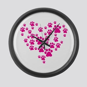 Heart of Paw Prints Large Wall Clock