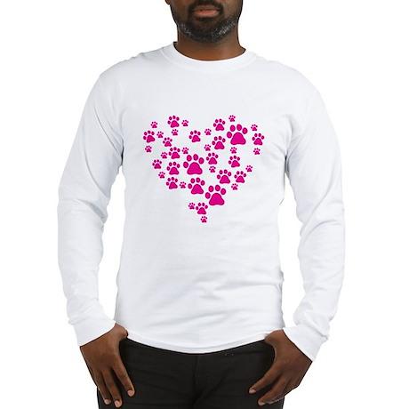Heart of Paw Prints Long Sleeve T-Shirt