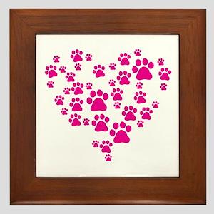 Heart of Paw Prints Framed Tile