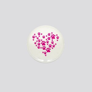 Heart of Paw Prints Mini Button