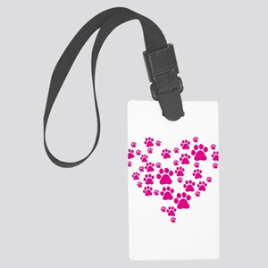 Heart of Paw Prints Large Luggage Tag