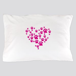 Heart of Paw Prints Pillow Case