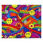 Hippie Smiley Rainbow Pattern King Duvet