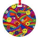 Hippie Smiley Rainbow Pattern Round Ornament