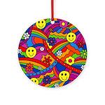 Hippie Smiley Rainbow Pattern Ornament (Round)