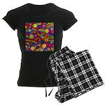 Hippie Smiley Rainbow Pattern Women's Dark Pajamas