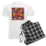 Hippie Smiley Rainbow Pattern Men's Light Pajamas