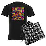 Hippie Smiley Rainbow Pattern Men's Dark Pajamas