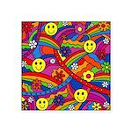 Hippie Smiley Rainbow Pattern Square Sticker 3