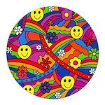 Hippie Smiley Rainbow Pattern Round Car Magnet