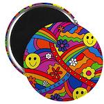 Hippie Smiley Rainbow Pattern Magnet