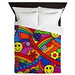 Hippie Smiley Rainbow Pattern Queen Duvet